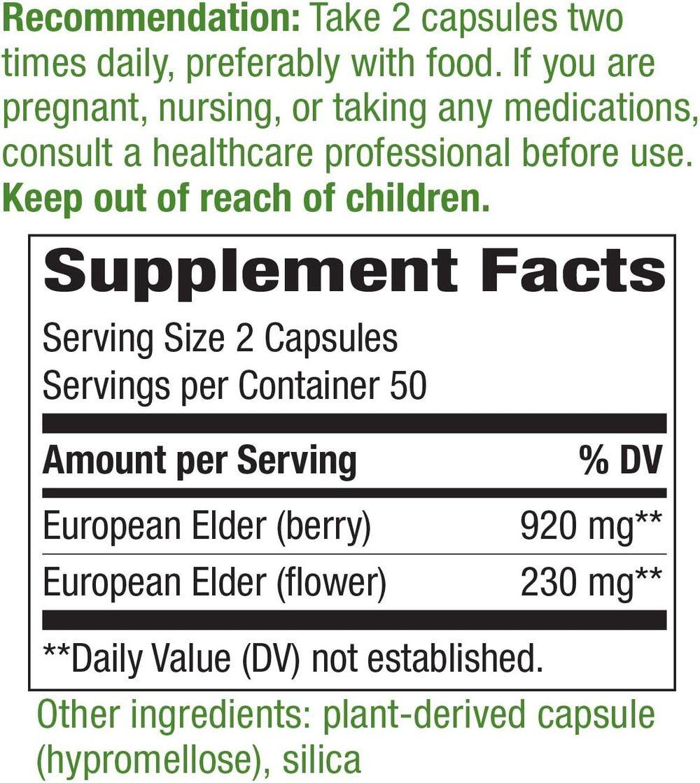 Nature's Way Black Elderberry Capsules 1150 mg, 100-Count