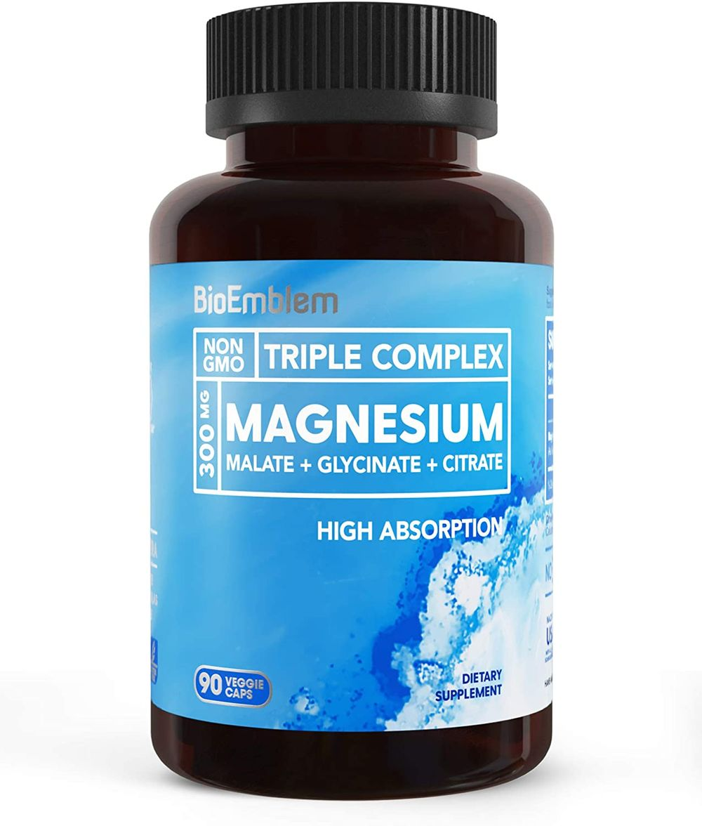 BioEmblem Triple Magnesium Complex | 300mg of Magnesium Glycinate, Malate, & Citrate for Muscle Relaxation, Sleep, Stress Relief, & Energy | High Absorption | Vegan, Non-GMO | 90 Capsules