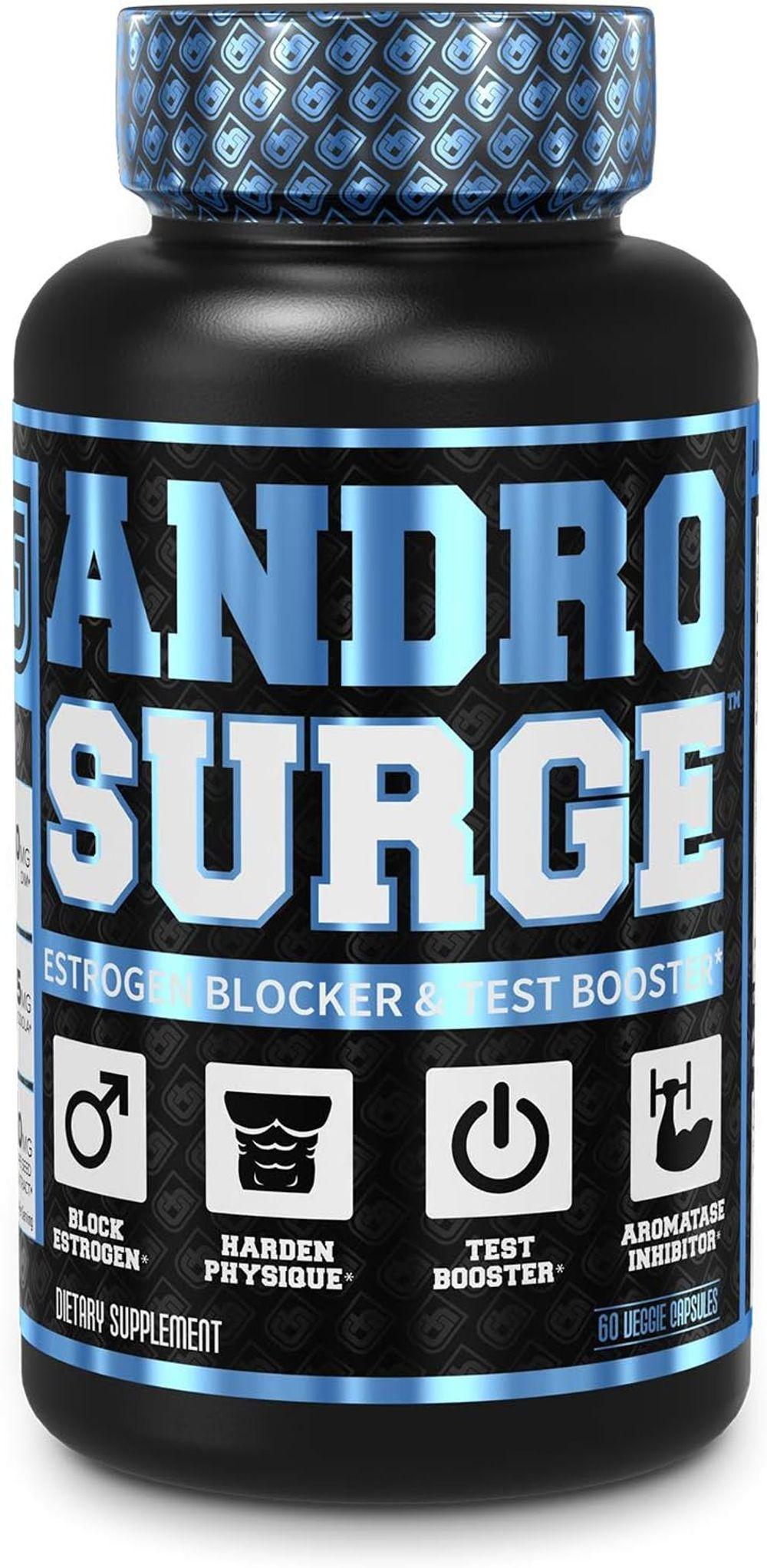 Androsurge Estrogen Blocker for Men - Natural Anti-Estrogen, Testosterone Booster & Aromatase Inhibitor Supplement - Boost Muscle Growth & Fat Loss - DIM & 6 More Powerful Ingredients, 60 Veggie Pills