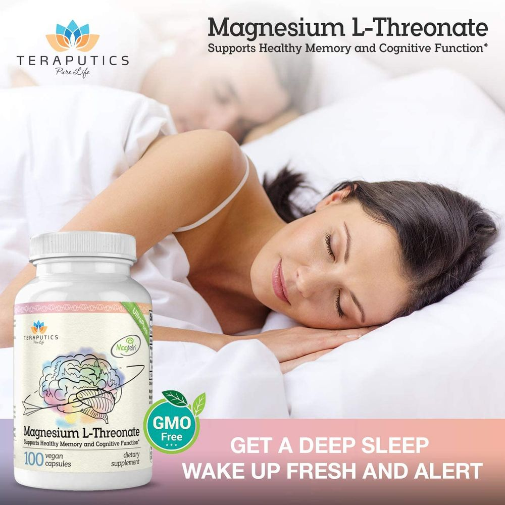 Magnesium L Threonate (Magtein) - The Best Non-GMO Highly Absorptive Pure Magnesium Supplement - 2000 mg - 100 Vegan Capsules - A Vitamin for Cognition & Sleep - Pills are Without Laxative Properties