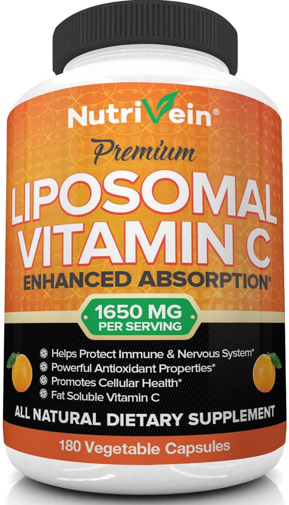 Nutrivein Liposomal Vitamin C 1650mg - 180 Capsules - High Absorption Ascorbic Acid - Supports Immune System and Collagen Booster - Powerful Antioxidant High Dose Fat Soluble Supplement