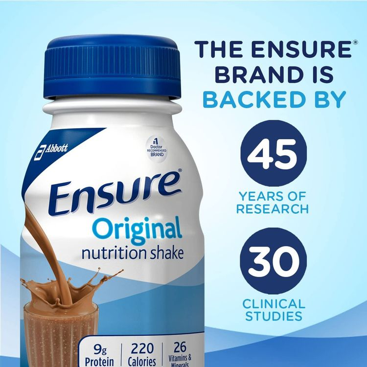 Ensure Original Nutrition Shake with 9 Grams of Protein, Meal Replacement Shakes, Milk Chocolate, 8 fl oz (Pack of 16)