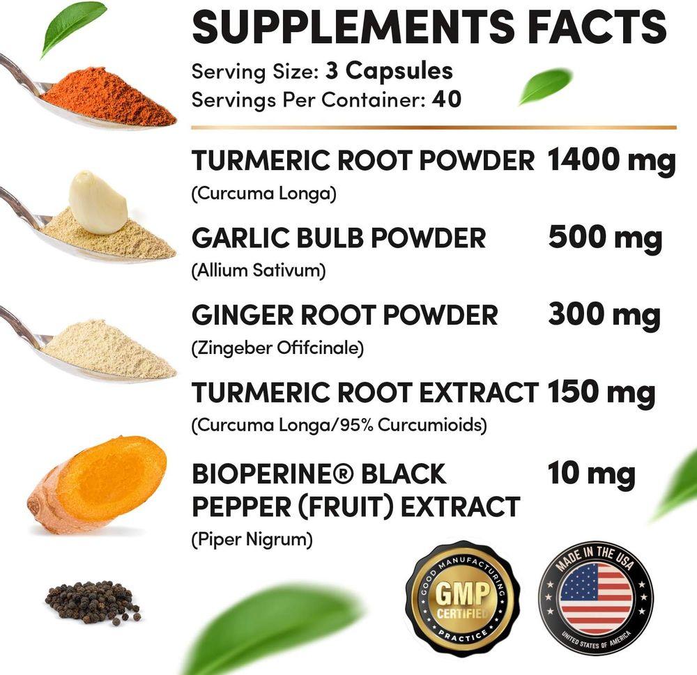 4-in-1 Turmeric Curcumin w Bioperine 2360mg (120 ct) | 95% Curcuminoids, Ginger Root, Garlic Pills, Black Pepper | Anti Inflammatory Joint Pain Heart Health | Made in The USA