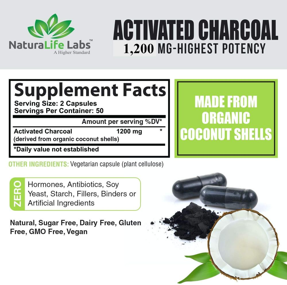 Activated Charcoal Capsules - 1,200 mg Highly Absorbent Helps Alleviate Gas & Bloating Promotes Natural detoxification Derived from Coconut Shells - per Serving - 100 Vegan Capsules Product Name