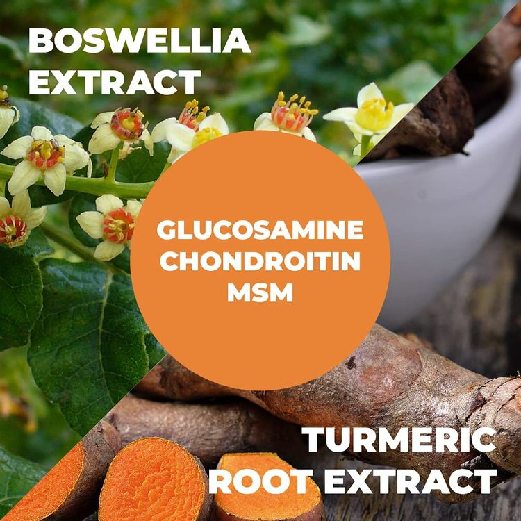 Glucosamine with Chondroitin Turmeric MSM Boswellia. Supports Occasional Joint Discomfort Relief. Helps Inflammatory Response, Antioxidant Properties. Supplement for Back, Knees, Hands. 90 Capsules