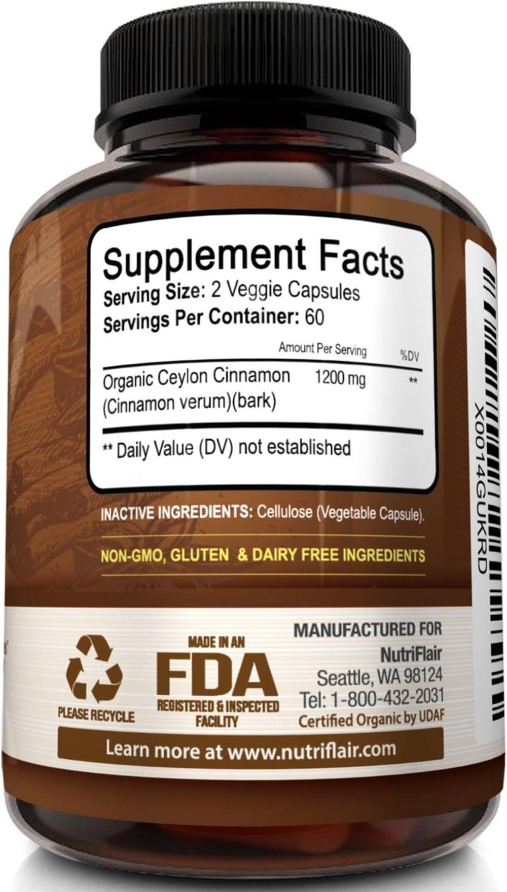 NutriFlair Ceylon Cinnamon (Made with Organic Ceylon Cinnamon) 1200mg per Serving, 120 Capsules - Healthy Blood Sugar Support, Joint Support, Anti-inflammatory & Antioxidant - True Sri Lanka Cinnamon