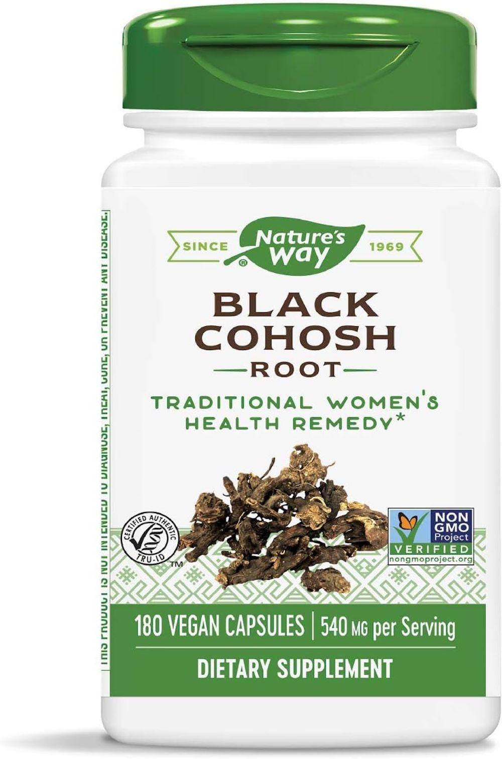 Nature's Way Black Cohosh Root, 540 mg per serving, Non-GMO, Gluten Free, 180 Capsules