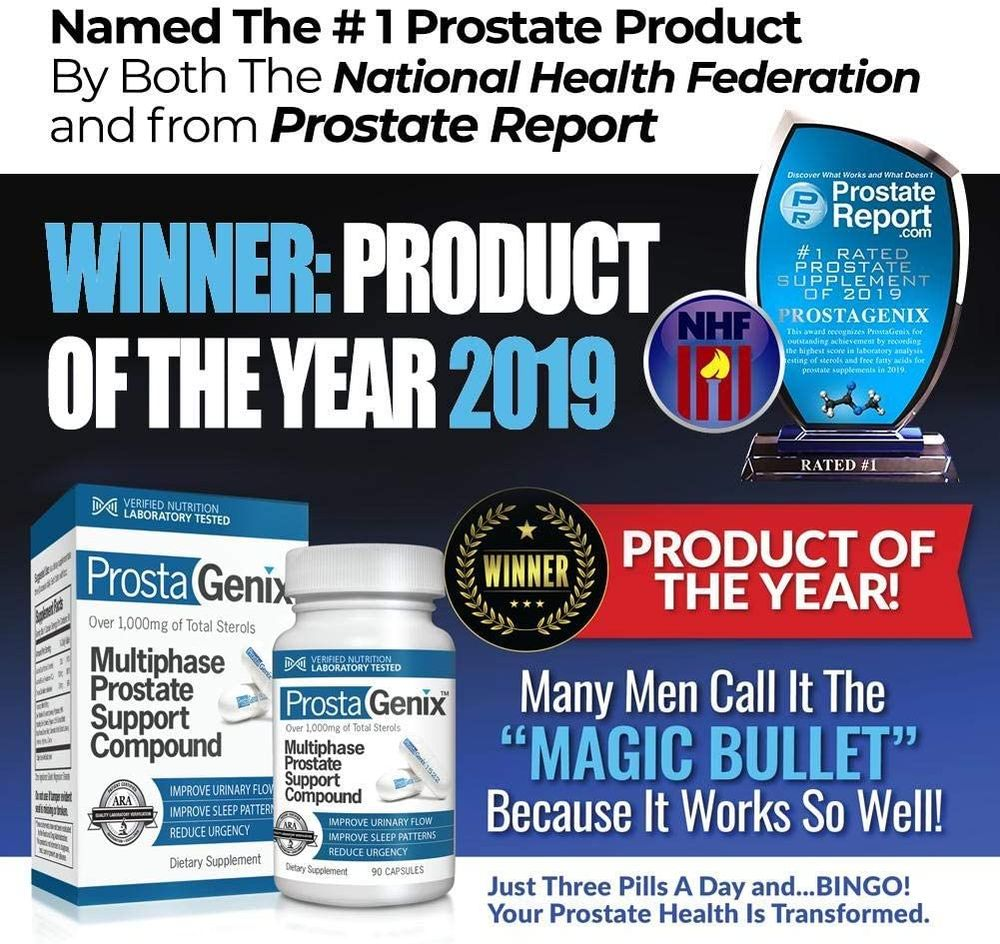 ProstaGenix Multiphase Prostate Supplement-Featured on Larry King Investigative TV Show - Over 1 Million Sold -End Nighttime Bathroom Trips, Urgency, & More. Rated #1 by ConsumerLab - 90 Capsules