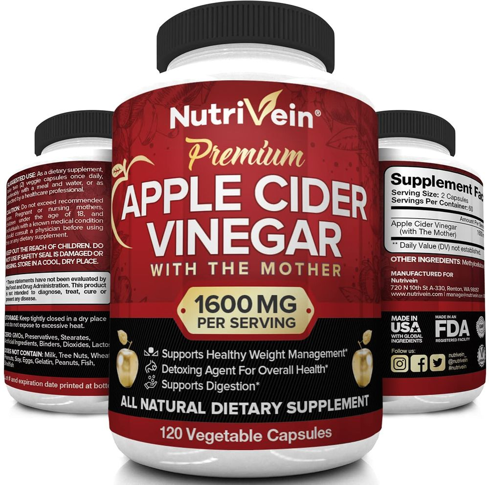 Nutrivein Apple Cider Vinegar Capsules with Mother 1600mg - 120 Vegan Pills - Supports Healthy Weight Loss, Diet, Detox, Digestion, Keto, Cleanser - Blood Sugar & Immune System - ACV Raw Supplement