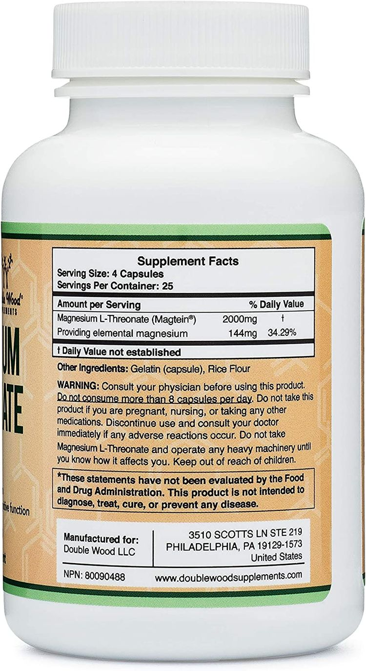 Magnesium L Threonate Capsules (Magtein) – High Absorption Supplement – Bioavailable Form for Sleep and Cognitive Function Support – 2,000 mg – 100 Capsules