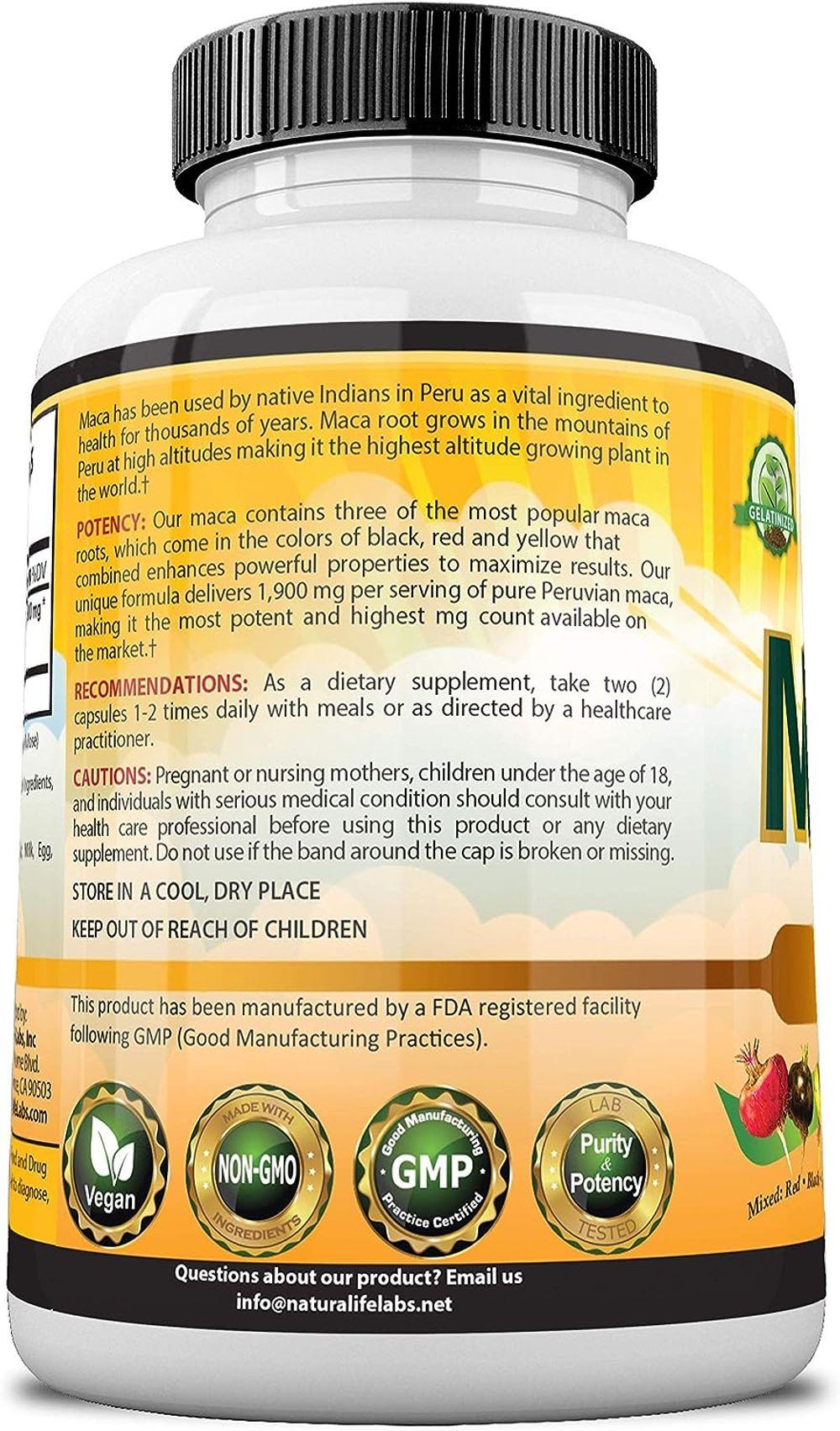 Organic Maca Root Black, Red, Yellow 1900 MG per Serving - 150 Vegan Capsules Peruvian Maca Root Gelatinized 100% Pure Non-GMO Supports Reproductive Health Natural Energizer