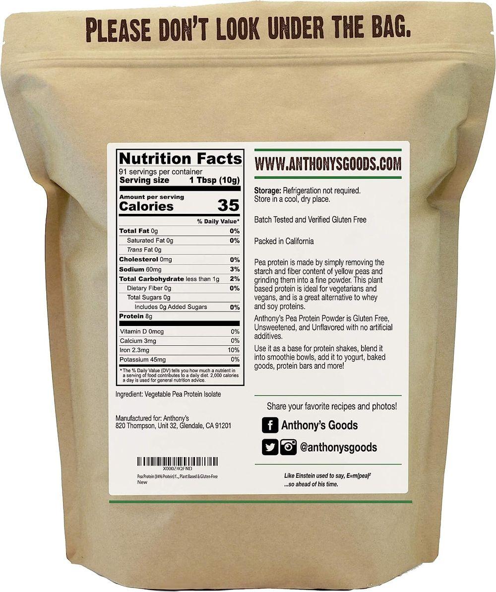 Anthony's Premium Pea Protein, 2 lb, Plant Based, Gluten Free, Unflavored, Vegan, Keto Friendly