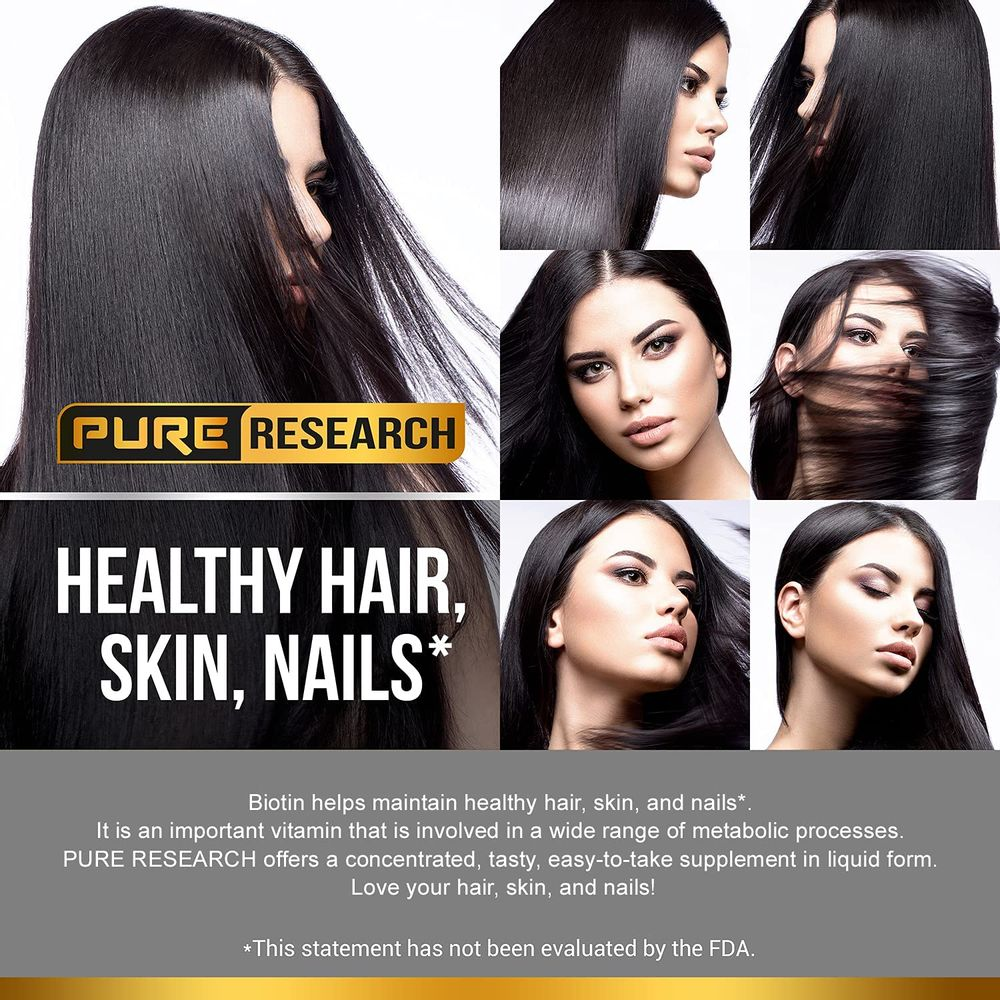 Biotin & Collagen 25,000mcg, for Hair, Skin & Nails. Healthy Hair Support Liquid Drops, Supports Strong Nails, Glowing Skin, Healthy Growing Hair