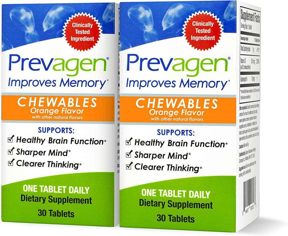 Prevagen Improves Memory - Regular Strength 10mg, 30 Chewables  Orange-2 Pack  with Apoaequorin & Vitamin D   Brain Supplement for Better Brain Health, Supports Healthy Brain Function and Clarity