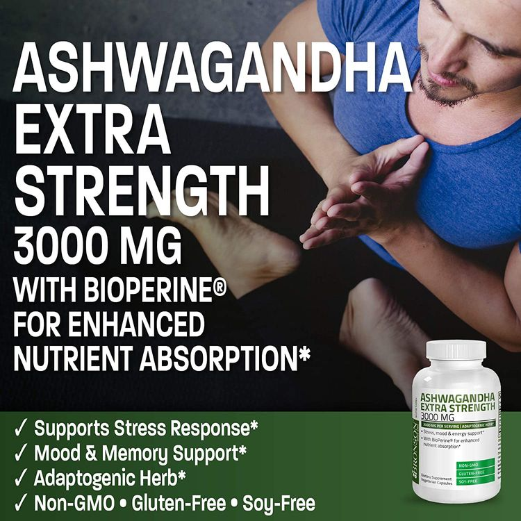Bronson Ashwagandha Extra Strength 3000 mg per Serving, Stress & Mood Support with BioPerine - Non GMO, 120 Vegetarian Capsules