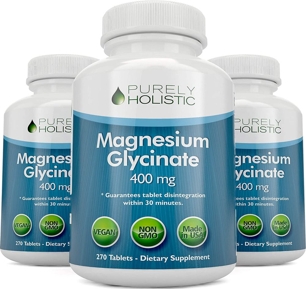 Magnesium Glycinate 400mg - 100% More 270 Magnesium Tablets (not Capsules), Highly Bioavailable, Non Buffered, Vegan and Vegetarian - Improved Sleep, Stress Relief & Cramp Defense