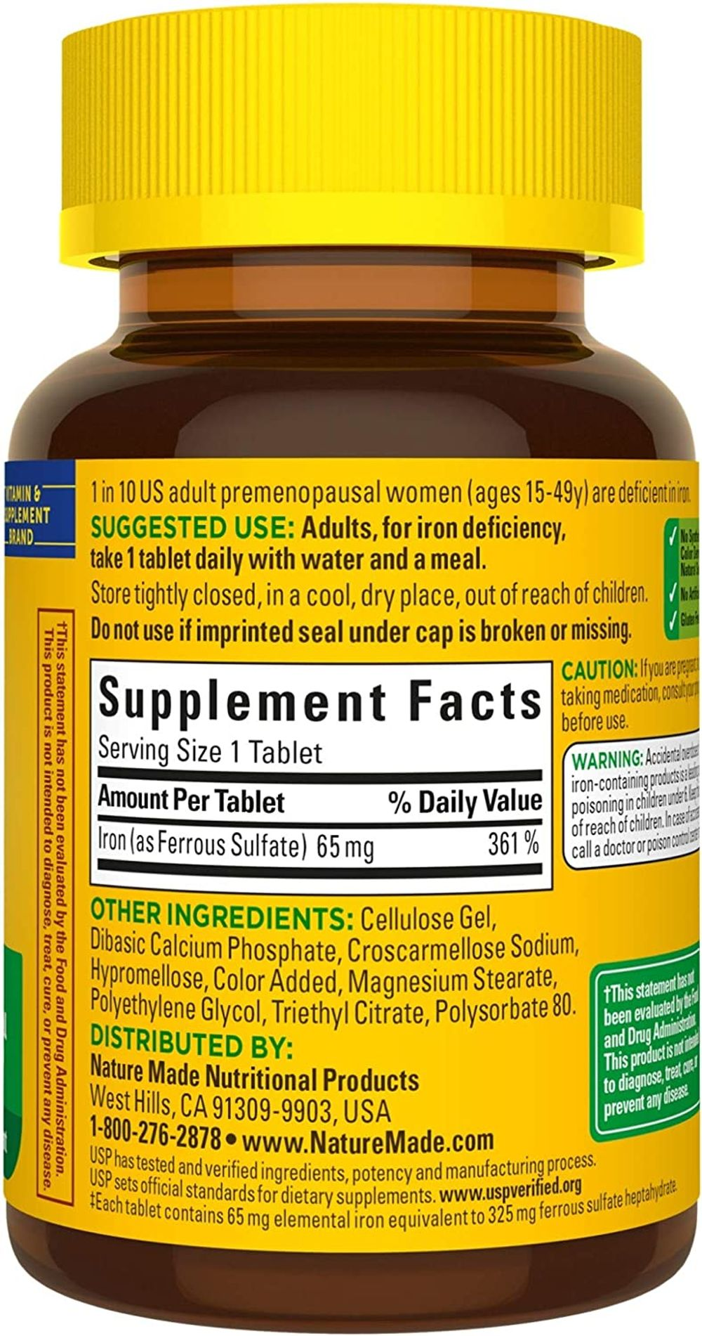 Nature Made Iron 65 mg (from Ferrous Sulfate) Tablets, 180 Count