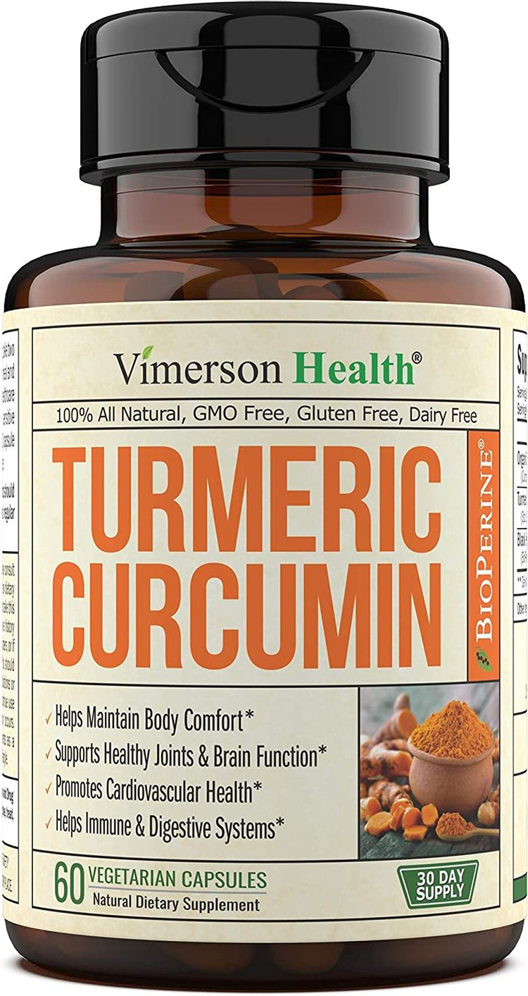 Turmeric Curcumin with BioPerine Black Pepper 1300 mg, 95% Curcuminoids High Absorption Extra Strength, Joint Support and Discomfort Relief, Antioxidant Herbal Dietary Supplement, 60 capsules