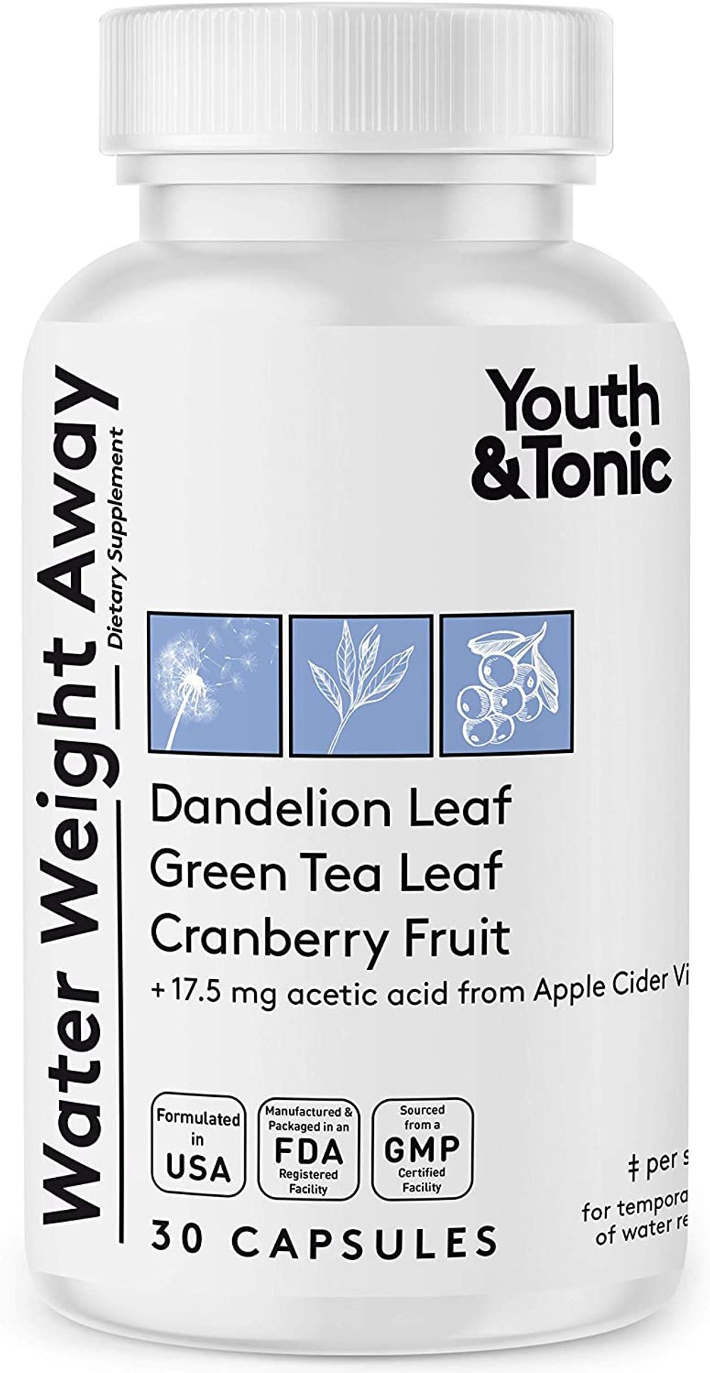Water Weight Away Pills to Relief Ankle Swelling & Belly Bloat Reducing Waist Line   Natural Diuretic Supplement w/Dandelion for Water Retention Loss   Cleanse Detox Programs Support for Women & Men
