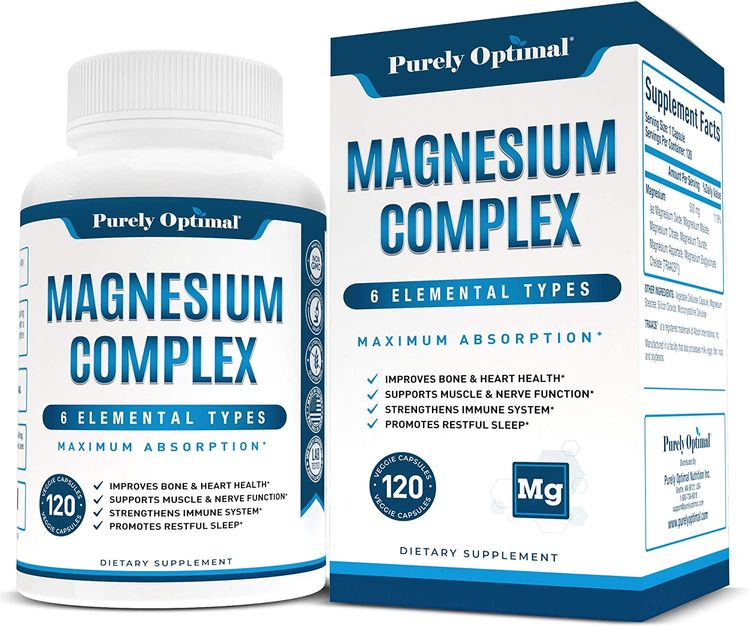 Premium Magnesium Complex - Magnesium Citrate, Malate, Taurate, Oxide, Aspartate, Bisglycinate Chelate TRAACS - Max Absorption Magnesium Supplement for Sleep, Leg Cramps, Muscle Relaxation - 120 caps…