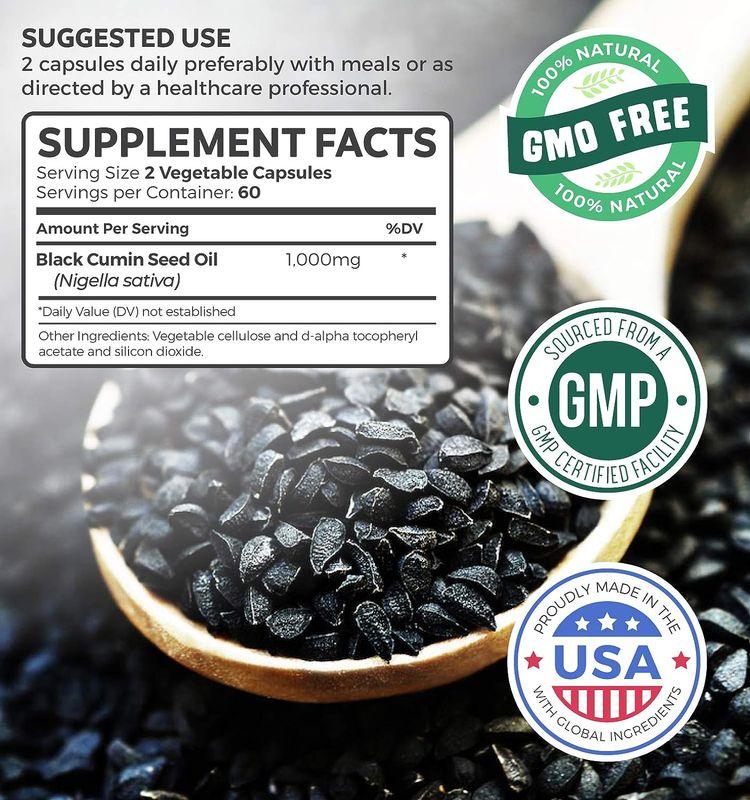 Black Seed Oil - 120 Softgel Capsules (Non-GMO & Vegetarian) Premium Cold-Pressed Nigella Sativa Producing Pure Black Cumin Seed Oil with Vitamin E - 500mg Each, 1000mg Per Serving