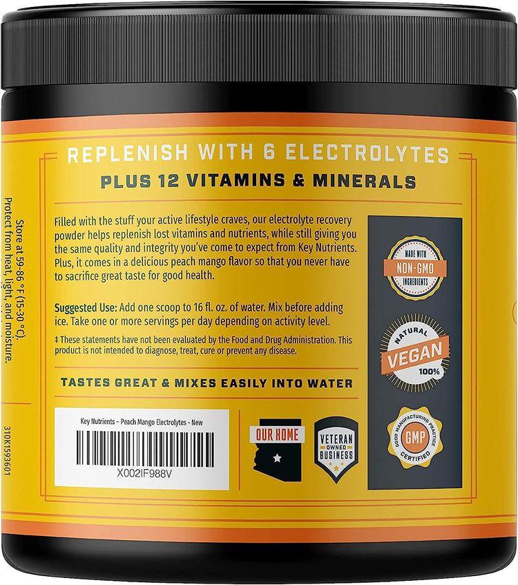 Electrolyte Powder, Peach Mango Hydration Supplement: 90 Servings, Carb, Calorie & Sugar Free, Delicious Keto Replenishment Drink Mix. 6 Key Electrolytes - Magnesium, Potassium, Calcium & More.