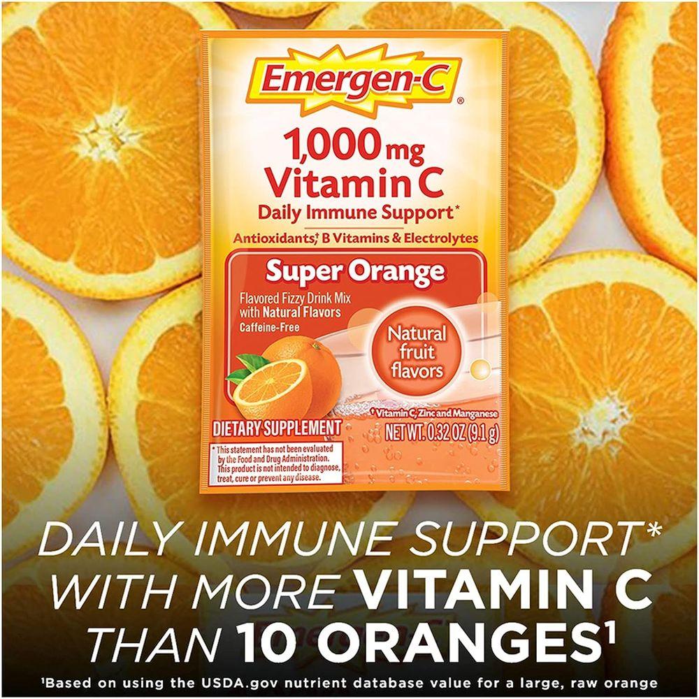 Emergen-C 1000mg Vitamin C Powder, with Antioxidants, B Vitamins and Electrolytes, Vitamin C Supplements for Immune Support, Caffeine Free Fizzy Drink Mix, Super Orange Flavor - 30 Count