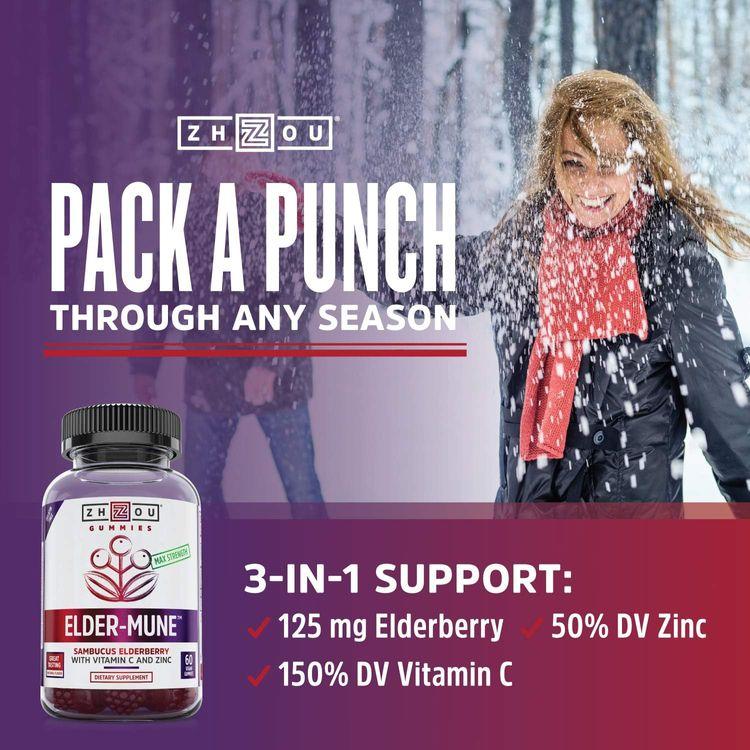 Zhou Elder-Mune Sambucus Elderberry Gummies   Antioxidant Flavonoids, Immune Support, Zinc & Vitamin C Supplement   30 Servings, 60 Gummies