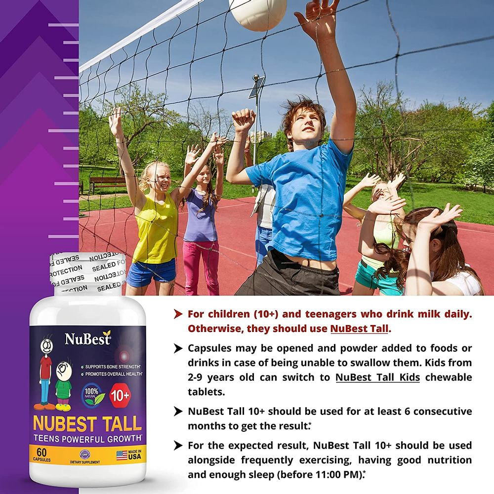NuBest Tall 10+ - Advanced Growth Formula - Powerful Bone Strength Support - for Children (10+) & Teens Who Drink Milk Daily - Grow Strong and Stay Healthy - 60 Capsules