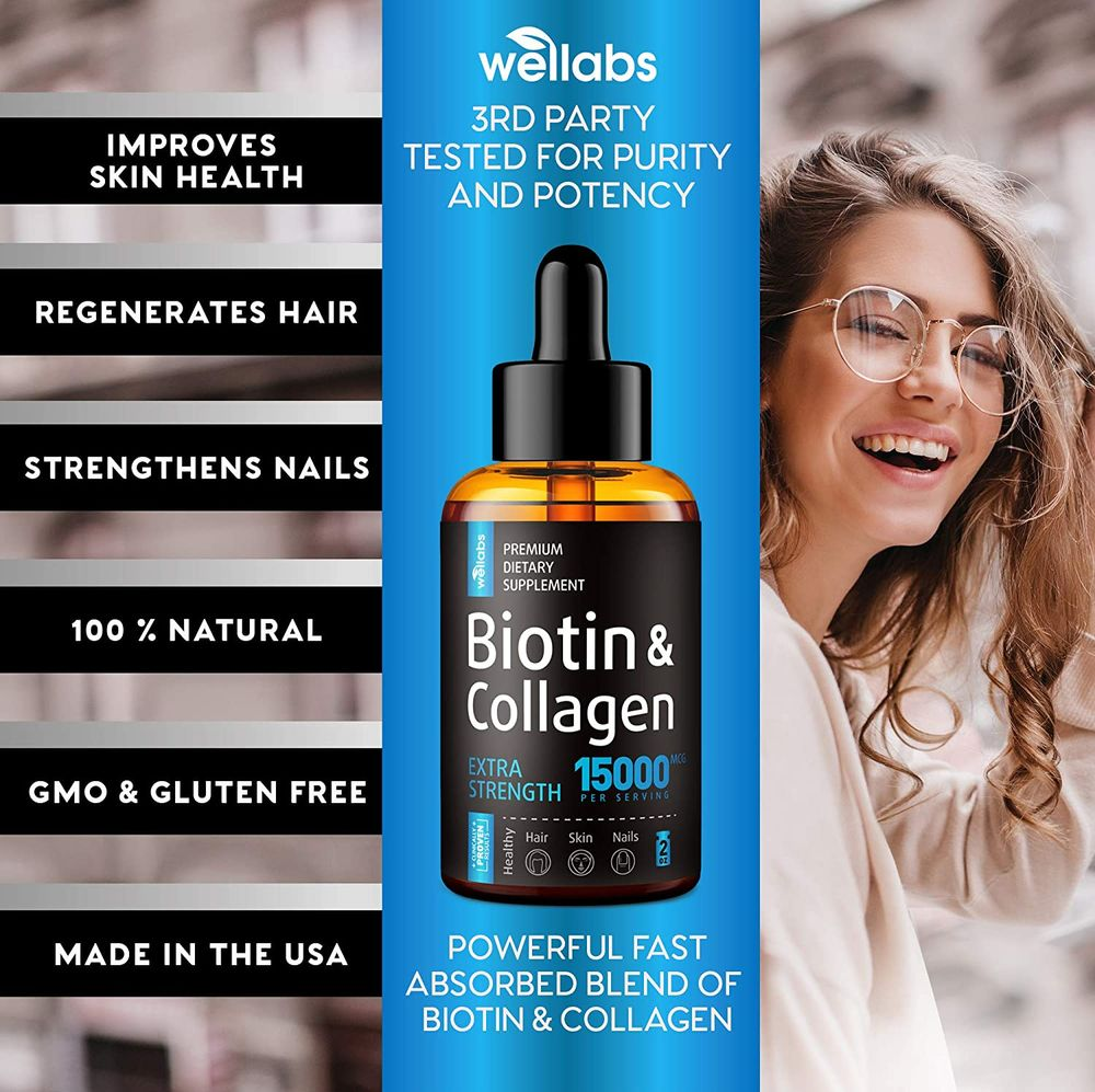 Premium Biotin & Collagen Hair Growth Drops - Potent US Made Hair Growth Product - Healthy Skin & Nails - Liquid Biotin & Collagen Supplement for Best Absorption - Perfect Hair Growth for Men & Women