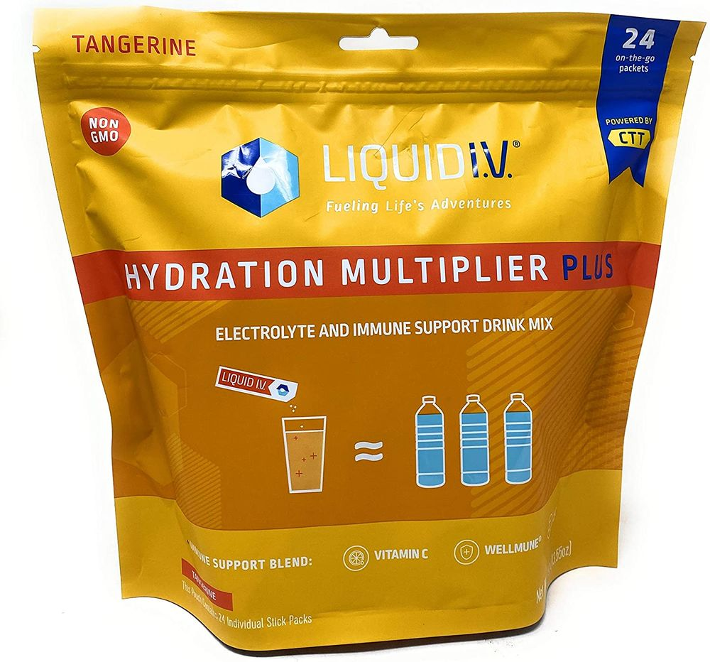 Liquid I.V Hydration Multiplier, Electrolyte Powder, Easy Open Packets, Supplement Drink Mix (Tangerine 24 Packets))
