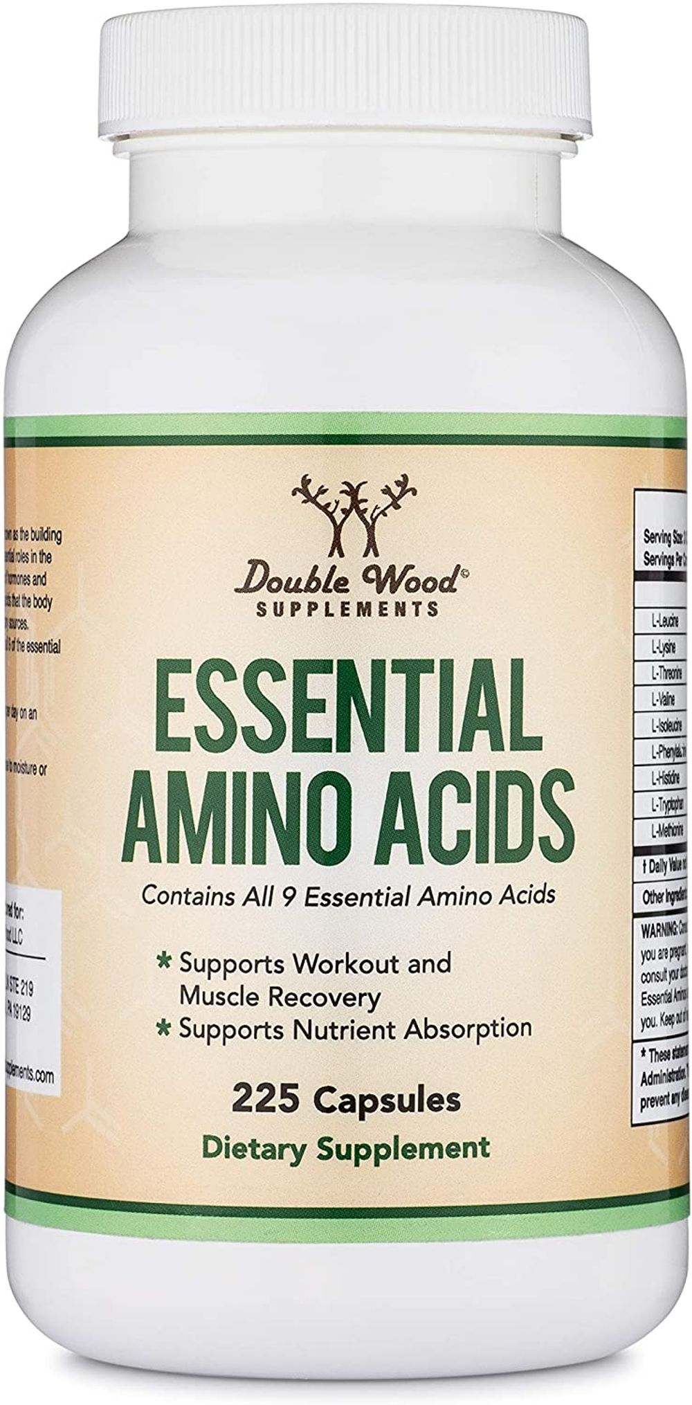 Essential Amino Acids - 1 Gram Per Serving Powder Blend of All 9 Essential Aminos (EAA) and all Branched-Chain Aminos (BCAAs) (Leucine, Isoleucine, Valine) 225 Capsules by Double Wood Supplements