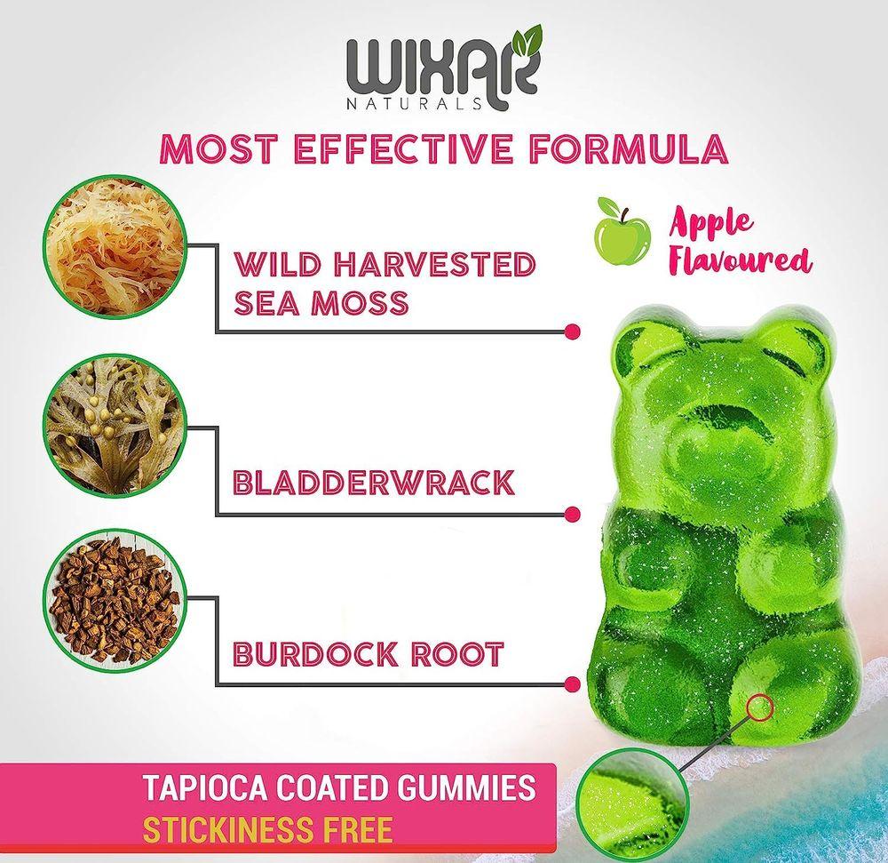 Wixar Naturals Sea Moss Gummies - Natural Irish Sea Moss and Bladderwrack with Burdock Gummy - 60 Gummies - Vegan - Thyroid, Healthy Skin, Keto Detox, Gut, Joint Support Alkaline Supplements