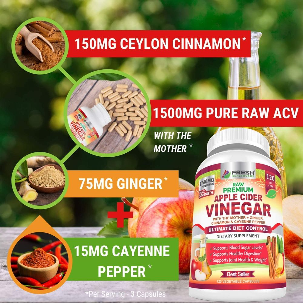 Premium Apple Cider Vinegar Capsules Max 1740mg with Mother - 100% Natural & Raw with Cinnamon, Ginger & Cayenne Pepper - Ideal for Healthy Blood Sugar, Detox & Digestion-120 Vegan Pills