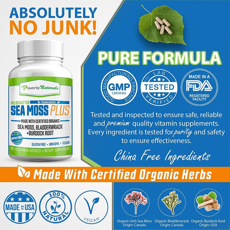 Power By Naturals Certified Organic Sea Moss Plus Supplements with Wildcrafted Irish Sea Moss, Bladderwrack, and Burdock Root, Pure Sea Moss Supplement, Non-GMO, Vegan, No Fillers, 60 Powder Capsules