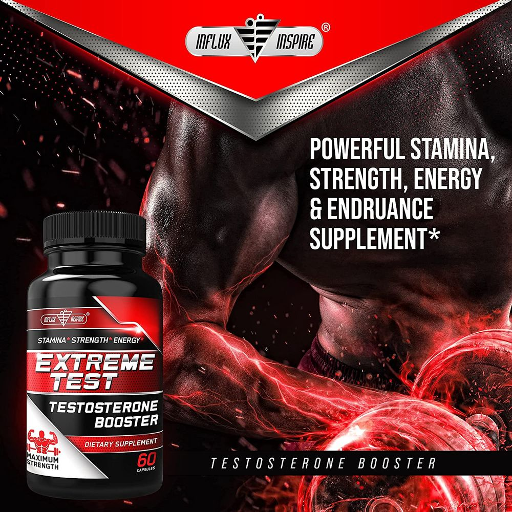 Testosterone Booster for Men with Tongkat Ali & Horny Goat Weed - Natural Male Enhancing Supplement - Muscle Builder Enlargement Pills - Test Booster for Stamina, Endurance & Strength - 60 Capsules