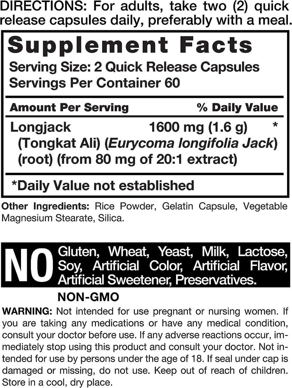Longjack Tongkat Ali 1600 mg   120 Capsules   Longifolia Root Extract Powder   Testosterone Formula   Non-GMO, Gluten Free   by Horbaach