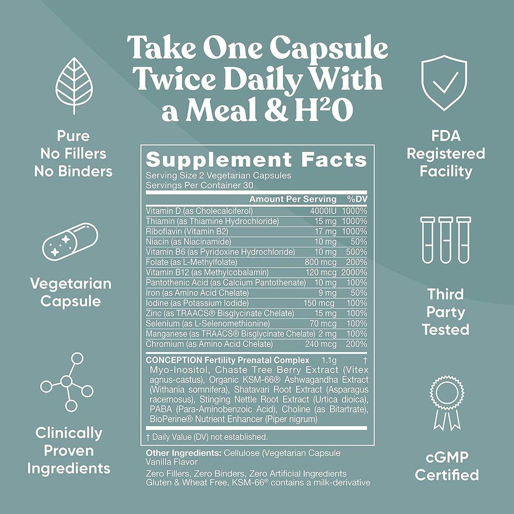Conception Fertility Prenatal Vitamins – Regulate Your Cycle, Balance Hormones, Aid Ovulation – Myo-Inositol, Vitex, Folate Folic Acid Pills – 60 Vegetarian Soft Capsules