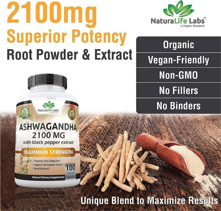 Organic Ashwagandha 2,100 mg - 100 Vegan Capsules Pure Organic Ashwagandha Powder and Root Extract - Stress Relief, Mood Enhancer, Immune & Thyroid Support