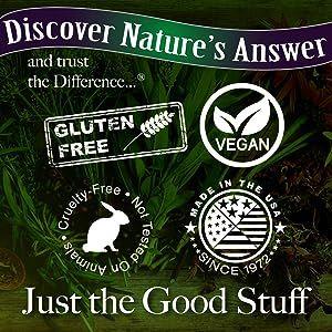 Gluten Free, Vegan, Cruelty Free, Made in the USA