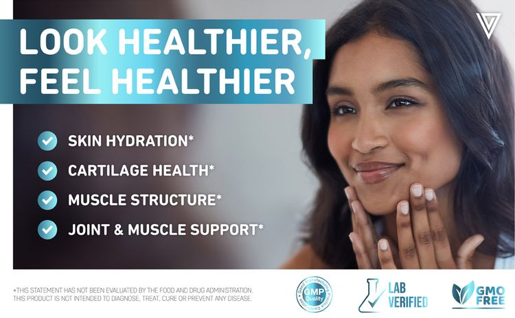 Woman with healthy skin from supplements collagen