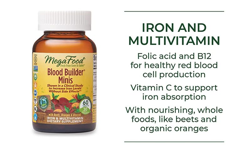 Iron and multivitamin, Folic acid and B12 for healthy red blood cell production