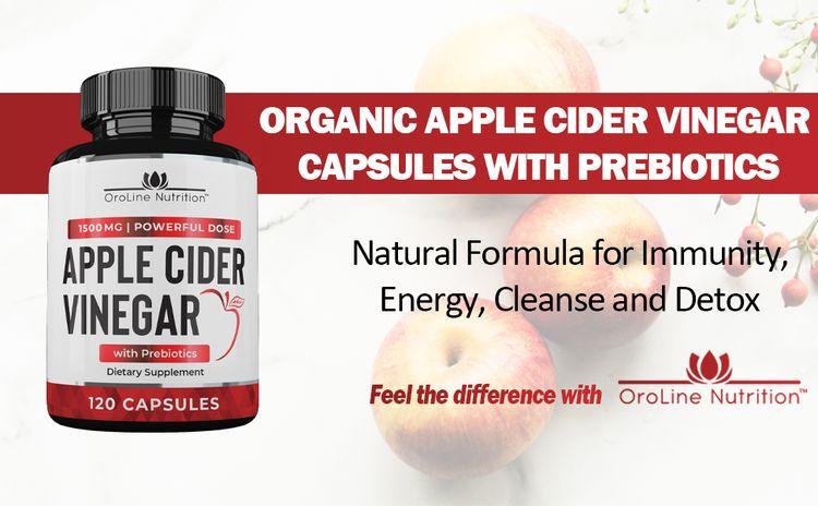 organic apple cider vinegar capsules with prebiotics fiber supplement for immune support gut health