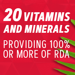 20 vitamins and minerals providing 100% more of RDA