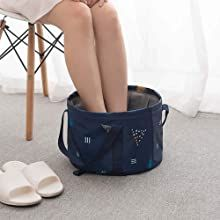 Relax your feet with a folding bucket