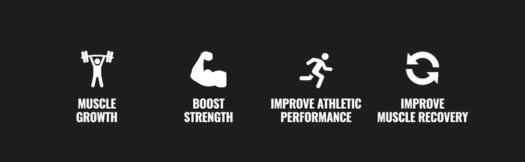 Muscle Growth, Boost Strength, Improve Athletic Performance, Improve Muscle Recovery