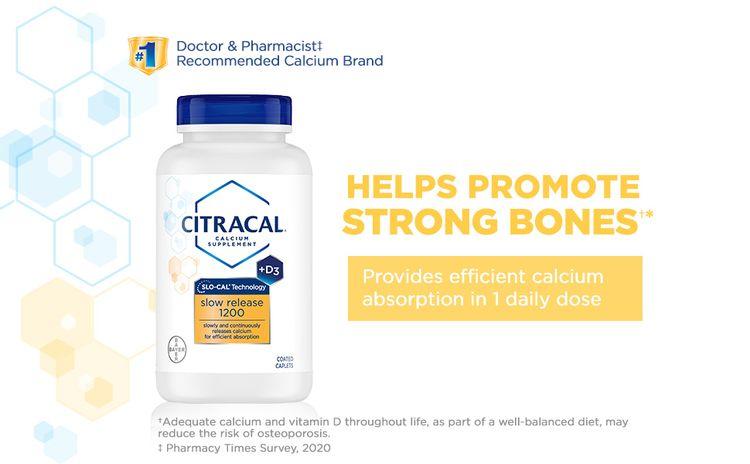 bayer citracal slow release 1200 calcium supplements women men male female healthy strong bones