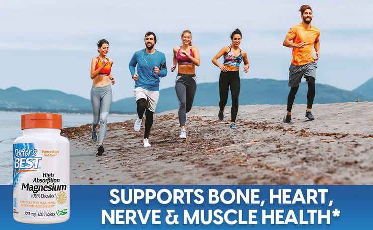 High Absorption 100% Chelated Magnesium bone heart nerve muscle health blood pressure bone nerves