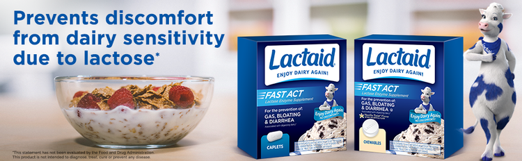 Lactaid Fast Act Lactase Enzyme Caplets - Prevents discomfort from dairy sensitivity due to lactose