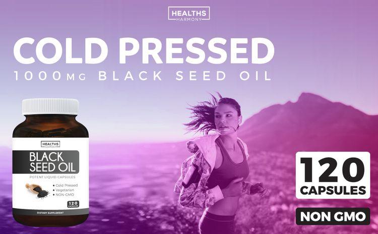 Black Seed Oil Capsules - Cold Pressed - NON GMO - 1000mg Black Seed Oil